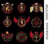 set of vector vintage emblems...   Shutterstock .eps vector #704475700