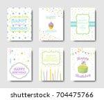 happy birthday cards set.... | Shutterstock .eps vector #704475766