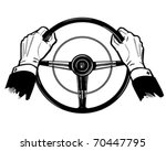 Hands On The Wheel - Retro Clipart Illustration - stock vector