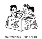 family reading book   retro... | Shutterstock .eps vector #70447810