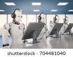 3d rendering humanoid robot... | Shutterstock . vector #704481040