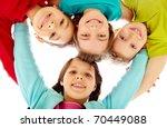 team of happy kids embracing... | Shutterstock . vector #70449088