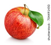 one ripe red apple fruit with... | Shutterstock . vector #704491450