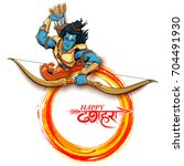 illustration of lord rama with... | Shutterstock .eps vector #704491930