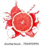 grapefruit with juice splash... | Shutterstock . vector #704493994