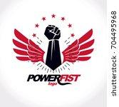 strong fist of a muscular man... | Shutterstock .eps vector #704495968
