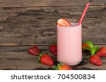 strawberry smoothie and... | Shutterstock . vector #704500834
