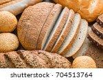 mixed frash baked bread... | Shutterstock . vector #704513764
