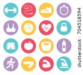 fitness icons set in flat... | Shutterstock .eps vector #704518594