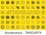 set of sunburst raster rays of... | Shutterstock . vector #704523979