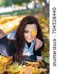 beautiful cheerful young woman... | Shutterstock . vector #704528440
