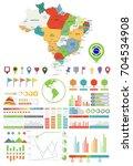 brazil map and infographics...   Shutterstock .eps vector #704534908