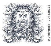 roman sea god neptune head.... | Shutterstock .eps vector #704538118