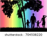 family silhouettes in nature. | Shutterstock .eps vector #704538220