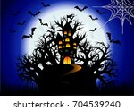 halloween. the castle is on a... | Shutterstock .eps vector #704539240