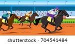 Stock vector horse race in racecourse 704541484