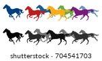 Stock vector silhouette horses running 704541703