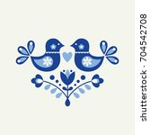 bird card in scandinavian style.... | Shutterstock .eps vector #704542708