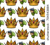 seamless pattern with crown and ... | Shutterstock .eps vector #704543884