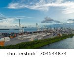 view of the port of miami in... | Shutterstock . vector #704544874