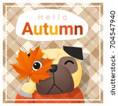 hello autumn background with... | Shutterstock .eps vector #704547940