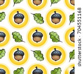 seamless pattern with acorns... | Shutterstock .eps vector #704551168
