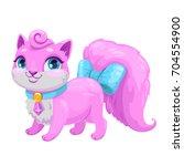 little cute cartoon kitty...   Shutterstock .eps vector #704554900