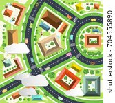 aerial green city scene. drone... | Shutterstock .eps vector #704555890