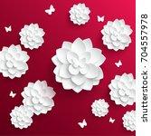 paper flower. lotus cut from... | Shutterstock .eps vector #704557978