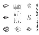 hand drawn face parts sketches... | Shutterstock .eps vector #704563318