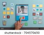 video chat and computer desktop ... | Shutterstock . vector #704570650