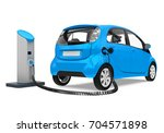 electric car in charging...   Shutterstock . vector #704571898