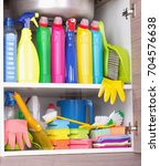 cleaning products placed in... | Shutterstock . vector #704576638