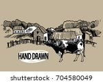 the village  a small ranch....   Shutterstock .eps vector #704580049