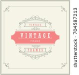 vintage ornament greeting card... | Shutterstock .eps vector #704587213