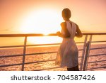 cruise ship vacation woman... | Shutterstock . vector #704587426