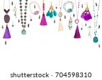 handmade turquoise and violet... | Shutterstock . vector #704598310