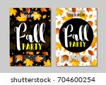 set of fall party poster ... | Shutterstock .eps vector #704600254