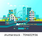 flat illustration with city... | Shutterstock .eps vector #704602936