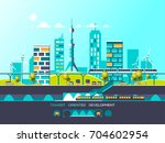 flat illustration with city... | Shutterstock .eps vector #704602954