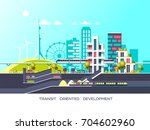 flat illustration with city... | Shutterstock .eps vector #704602960