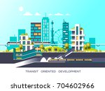 flat illustration with city... | Shutterstock .eps vector #704602966