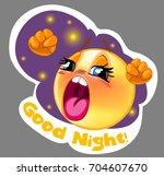 vector sleepy smiley sticker... | Shutterstock .eps vector #704607670