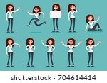 presentation set of a woman in... | Shutterstock .eps vector #704614414