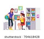 two high school student friends ... | Shutterstock .eps vector #704618428