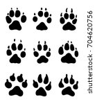 black print of paw of dogs on a ... | Shutterstock .eps vector #704620756