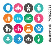 set of people and family icons. ... | Shutterstock .eps vector #704622718