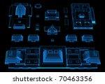 city  3d xray blue transparent    Shutterstock . vector #70463356