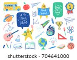 back to school doodles elements ... | Shutterstock .eps vector #704641000