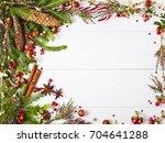 christmas fir tree and heather... | Shutterstock . vector #704641288